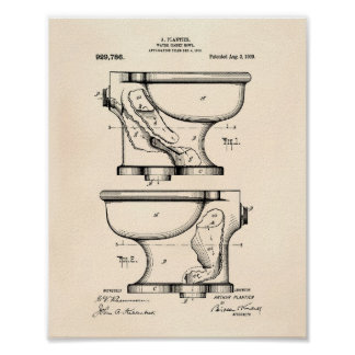 Water Closet Bowl 1909 Patent Art Old Peper Poster