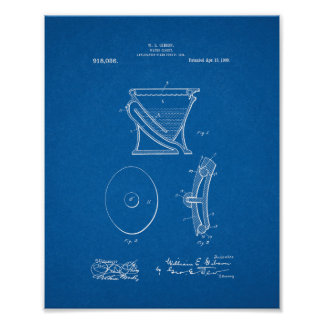 Water-closet - Toilet Patent - Blueprint Poster