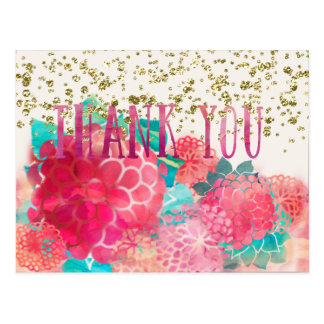 Water color and Gold Sequined Thank You Postcard