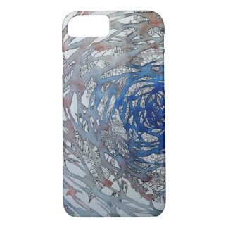 Water color and pen drawing water and plant iPhone 7 case