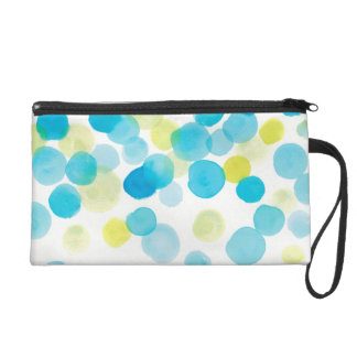 water color, blue green yellow wristlet purse