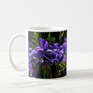Water Color Blue Iris Floral Coffee Mug