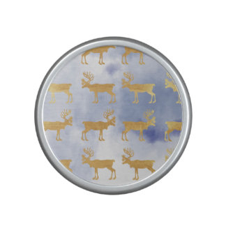 water color blue skies,gold,deers,pattern,trendy,w bluetooth speaker