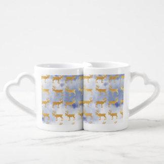 water color blue skies,gold,deers,pattern,trendy,w couples coffee mug