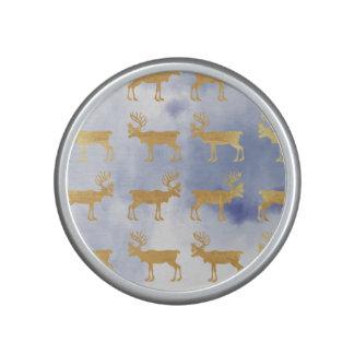 water color blue skies,gold,deers,pattern,trendy,w speaker
