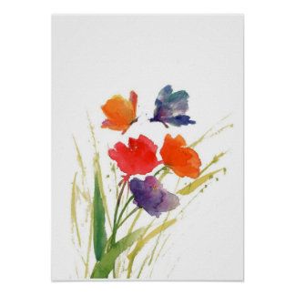 water color butterfly poster