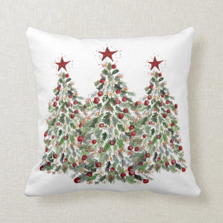"Water Color Christmas Tree 20""x20"" Pillow"