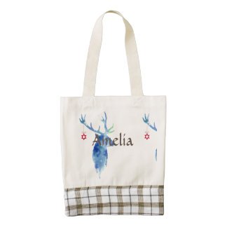 water color,digitally painted, christmas deer,deco zazzle HEART tote bag