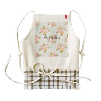 water color,floral,coral,cute,girly,trendy,chic,te zazzle HEART apron