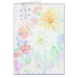 Water Color Flowered Stationery Note Card