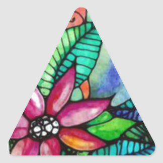 water color flowers and sun triangle sticker