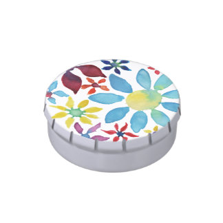 Water Color Flowers Candy Tins