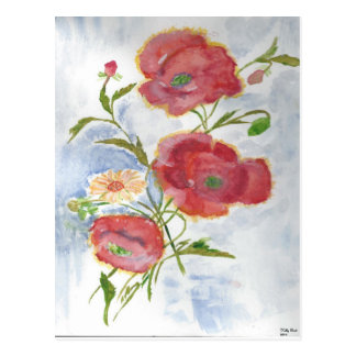 Water Color Flowers Postcards