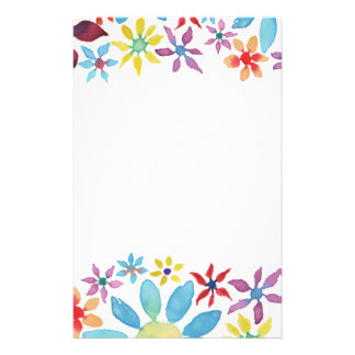 Water Color Flowers Stationery