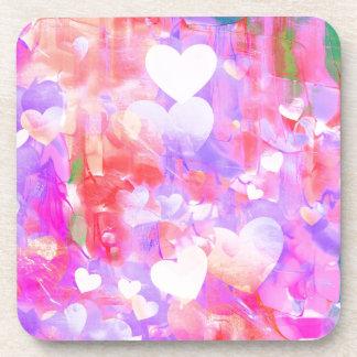 Water Color Hearts Drink Coaster