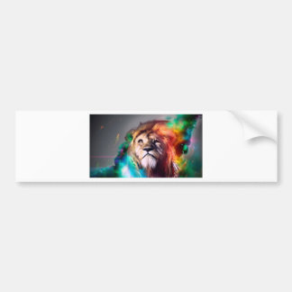 Water color lion bumper sticker