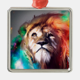 Water color lion square metal christmas ornament