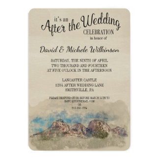 water color mountains after wedding party invite