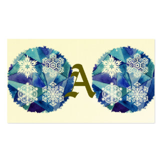 water color painting,ice crystalz,winter,deep blue Double-Sided standard business cards (Pack of 100)