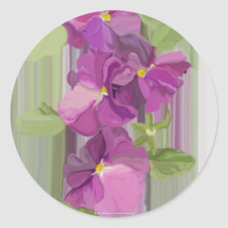 Water Color Pansies Classic Round Sticker