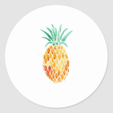 Trekescloset Water- Color Pineapple Classic Round Sticker