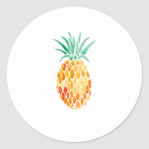 water color pineapple classic round sticker zazzle. Black Bedroom Furniture Sets. Home Design Ideas