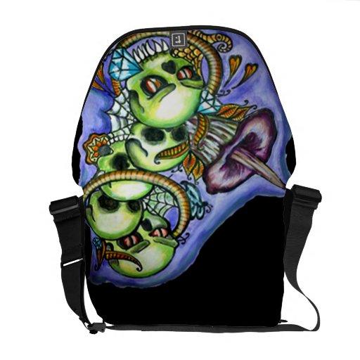 water color skull bag commuter bags
