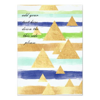 water color stripes,gold,pastels,triangles,modern, card
