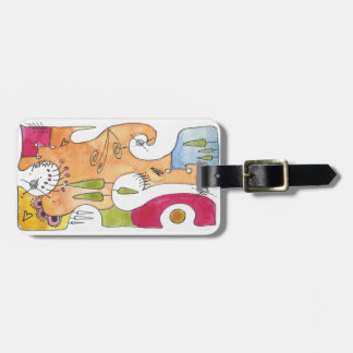 Water color Unique Luggage tag with leather strap