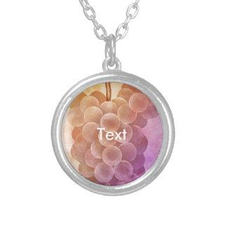 Water Color Vintage Grapes Round Pendant Necklace