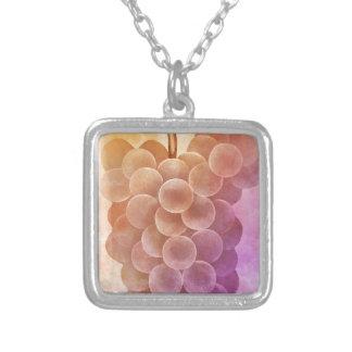 Water Color Vintage Grapes Square Pendant Necklace