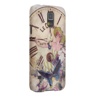 Water Color Vintage Woman Clock Cat Cases For Galaxy S5