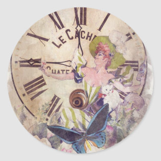 Water Color Vintage Woman Clock Cat Classic Round Sticker