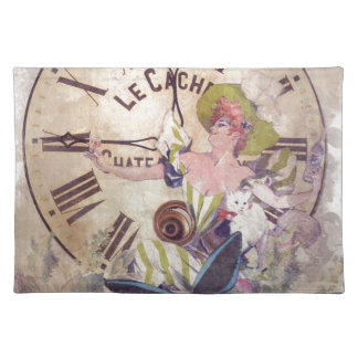 Water Color Vintage Woman Clock Cat Cloth Placemat