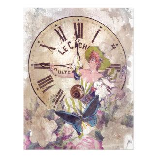 Water Color Vintage Woman Clock Cat Letterhead