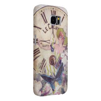 Water Color Vintage Woman Clock Cat Samsung Galaxy S6 Cases
