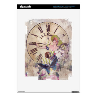 Water Color Vintage Woman Clock Cat Skin For iPad 3