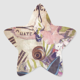 Water Color Vintage Woman Clock Cat Star Sticker