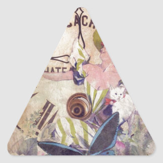 Water Color Vintage Woman Clock Cat Triangle Sticker