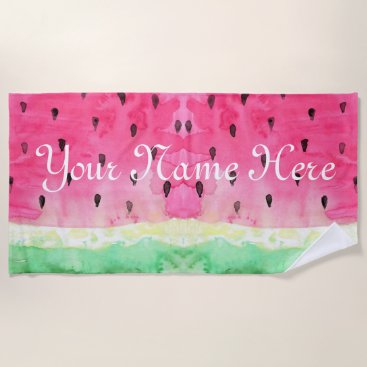 Beach Themed Water Color Water Melon Personalized Monogram Beach Towel