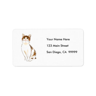 Water Color White & Orange Staring Cat Labels