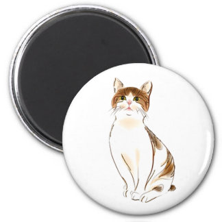 Water Color White & Orange Staring Cat Magnet