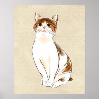 Water Color White & Orange Staring Cat Print