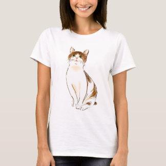 Water Color White & Orange Staring Cat T-Shirt