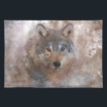 "Water color Wolfs Cloth Placemat<br><div class=""desc"">Wolf in watercolor,  a beautiful wolf image in watercolor with a colorful watercolor pattern in brown,  bronze,  blue and cream design background</div>"