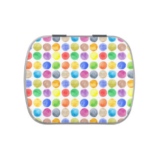 Water colour,big polka dot, funny,cute,girly,trend jelly belly candy tin