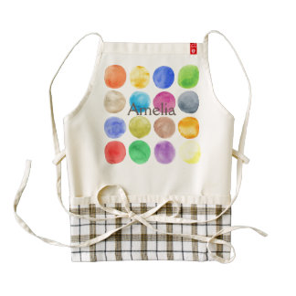 Water colour,big polka dot, funny,cute,girly,trend zazzle HEART apron