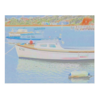 Water colour boats postcard