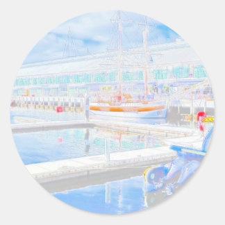 Water Colour Docks Classic Round Sticker