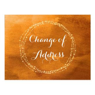 Water colour Orange Change of Address Postcards